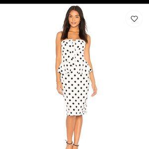 Bardot polka dot peplum dress
